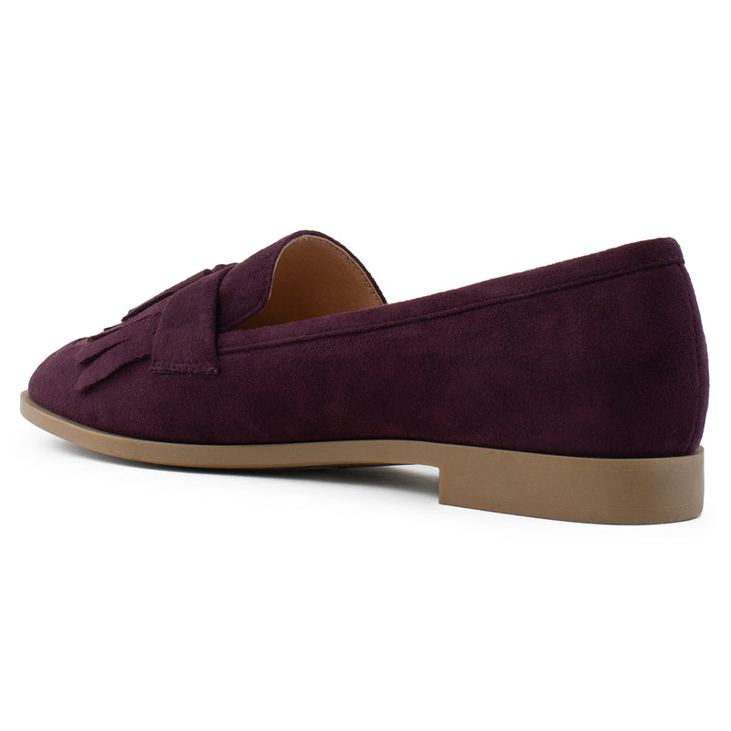 Women's Square Toe Loafer Moccasin Comfortable Work Flats BURGUNDY