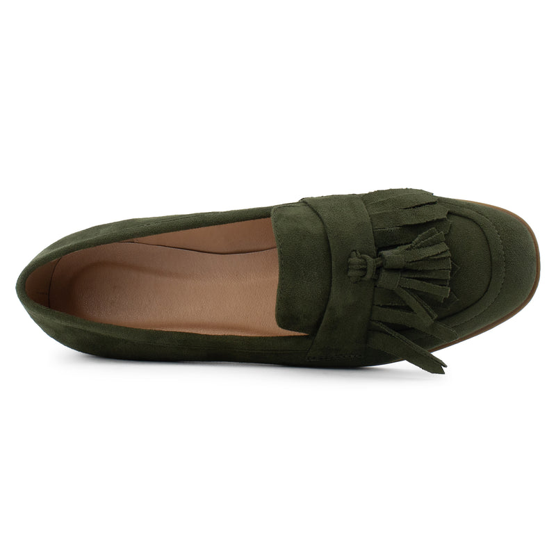 Women's Square Toe Loafer Moccasin Comfortable Work Flats OLIVE