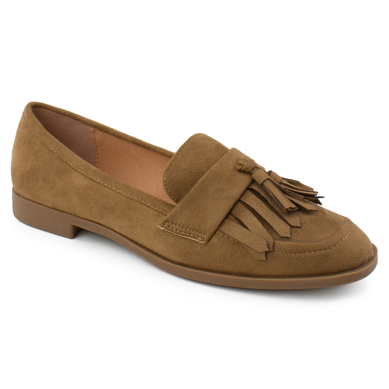 Women's Square Toe Loafer Moccasin Comfortable Work Flats TAUPE