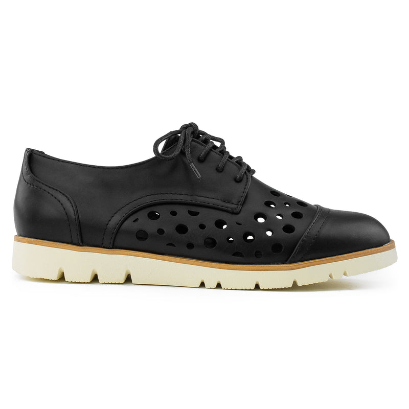 Women's Cutout Saddle Lace up Platform Oxford Flats BLACK