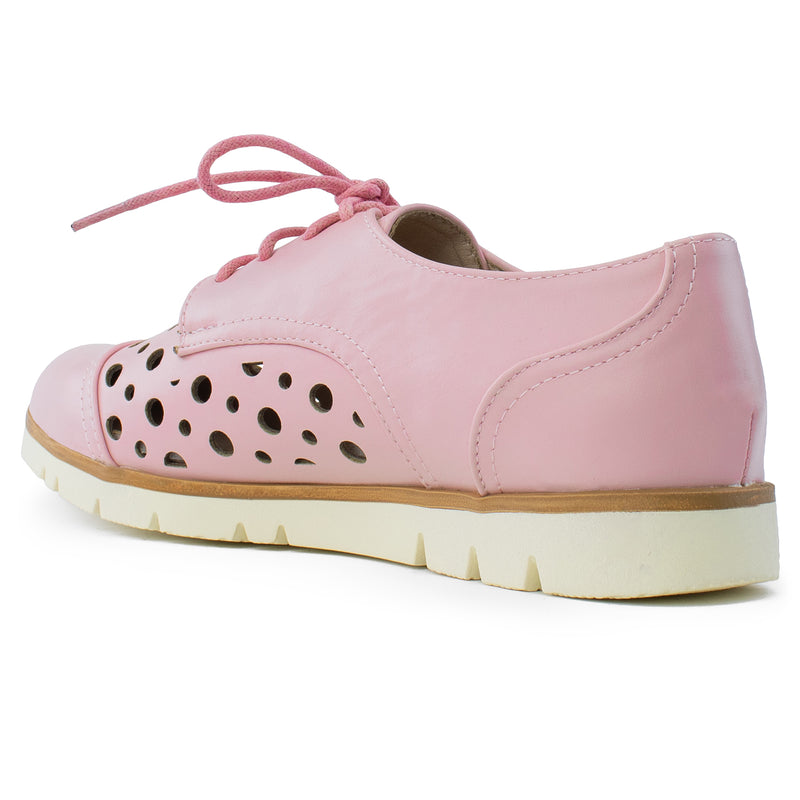 Women's Cutout Saddle Lace up Platform Oxford Flats PINK