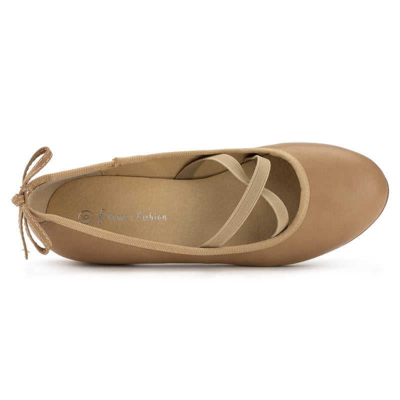 Mary Jane Ballet Flats Slip On Ballerina Flat Low Chunky Heel Bow Straps DARK BEIGE