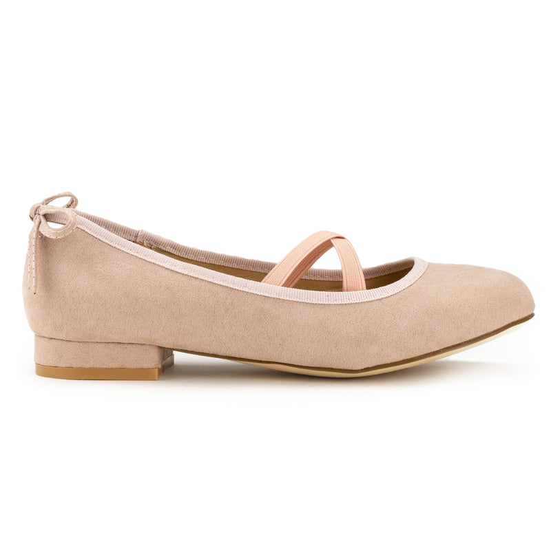 Mary Jane Ballet Flats Slip On Ballerina Flat Low Chunky Heel Bow Straps DUSTY ROSE