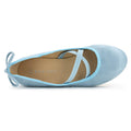 ROF Anna-21 Criss Cross Mary Jane Back Bow Decor Ballet Flats in Ice Blue SU