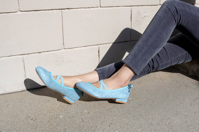 Mary Jane Ballet Flats Slip On Ballerina Flat Low Chunky Heel Bow Straps ICE BLUE