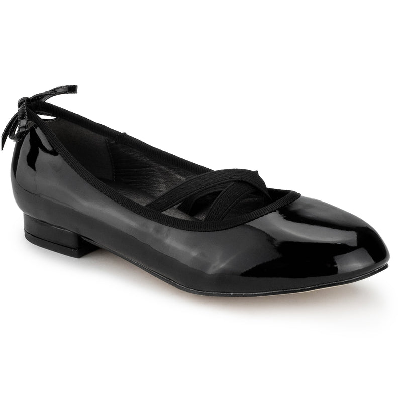 Mary Jane Ballet Flats Slip On Ballerina Flat Low Chunky Heel Bow Straps BLACK