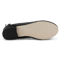 ROF Anna-21 Criss Cross Mary Jane Back Bow Decor Ballet Flats in Black Patent