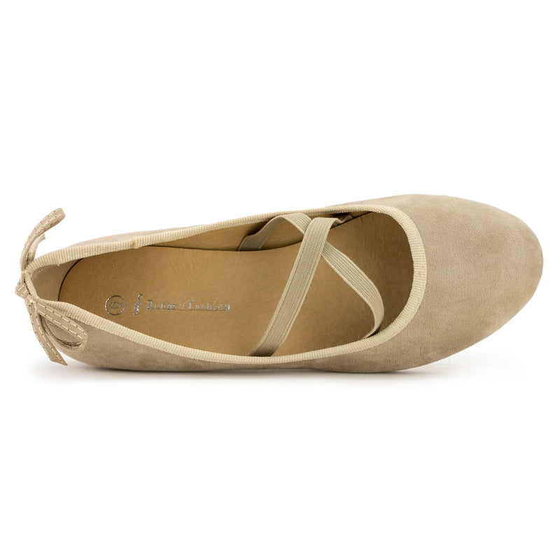 Mary Jane Ballet Flats Slip On Ballerina Flat Low Chunky Heel Bow Straps TAUPE