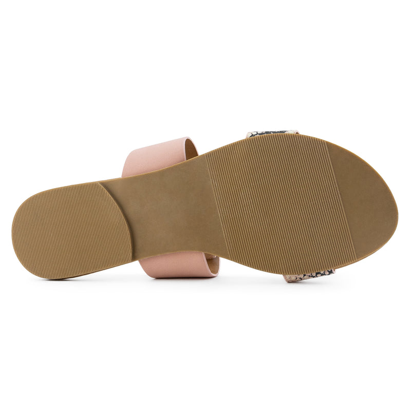 Women's Double Band Slide On Flat Sandals BRUSH