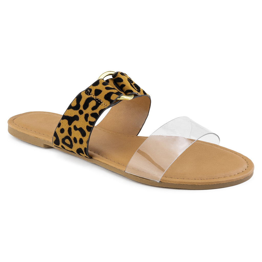 Women's Double Band Slide On Flat Sandals LEOPARD