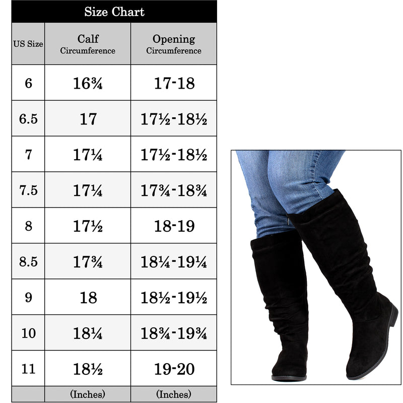"""Wide Calf & Wide Width"" Low Heel Slouchy Knee High Boots BLACK"