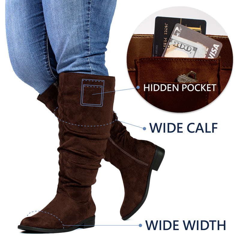 """Wide Calf & Wide Width"" Low Heel Slouchy Knee High Boots BROWN"