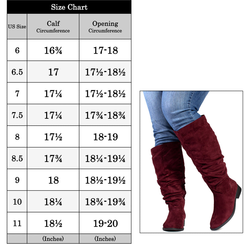 """Wide Calf & Wide Width"" Low Heel Slouchy Knee High Boots BURGUNDY"