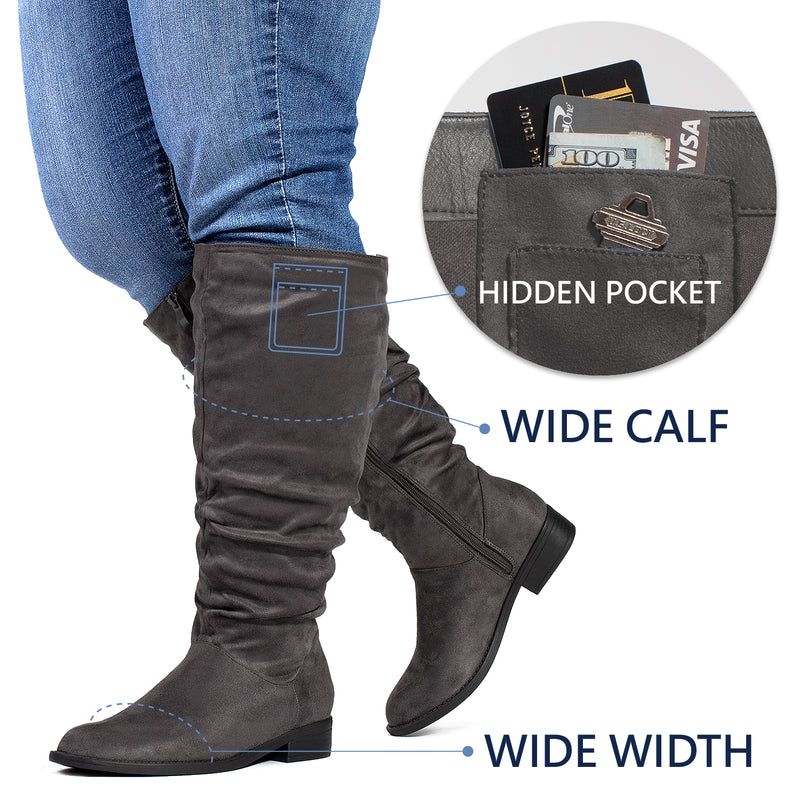 """Wide Calf & Wide Width"" Low Heel Slouchy Knee High Boots GREY"