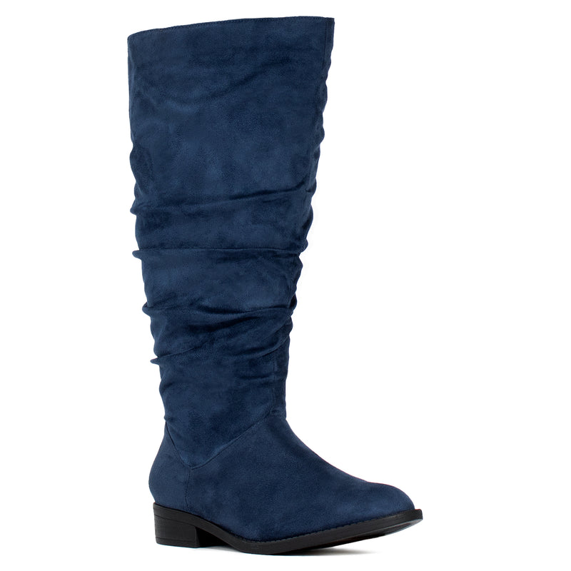 """Wide Calf & Wide Width"" Low Heel Slouchy Knee High Boots NAVY"