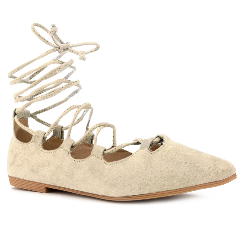 Vegan Pointed Toe D'Orsay Ballet Flats Ankle Strap Wrap Flat Shoes BEIGE