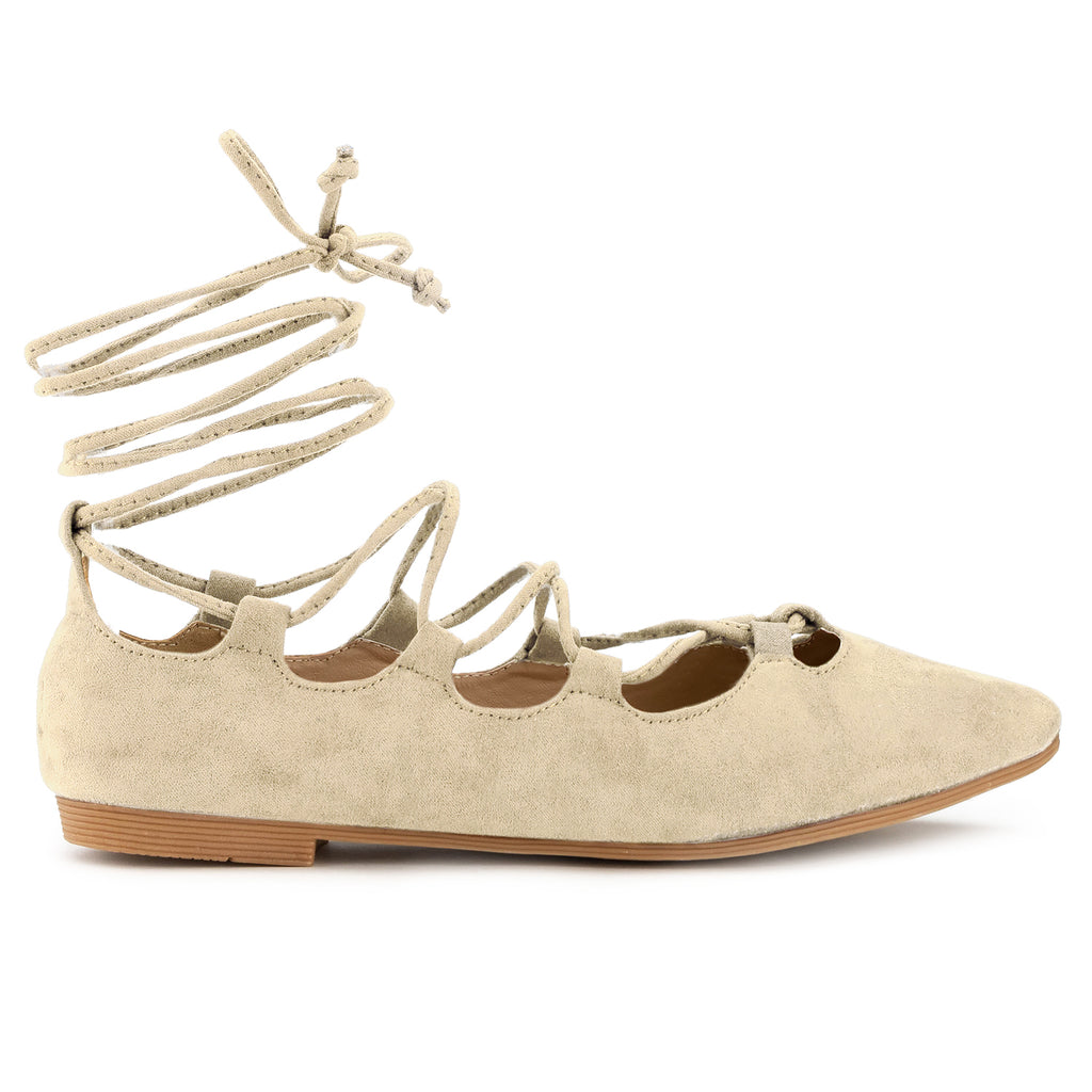B-23 Pointed Toe Lace-up Flats in Beige Suede