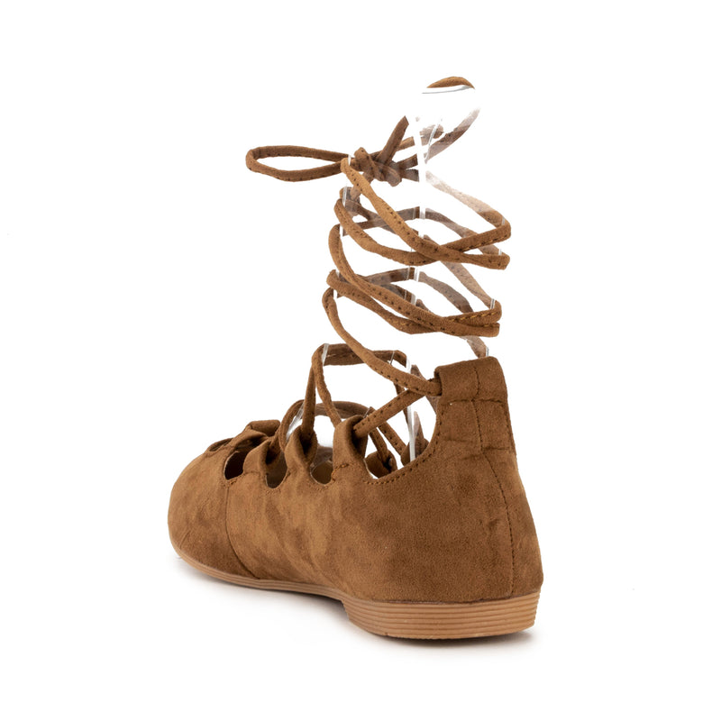 B-23 Pointed Toe Lace-up Flats in Tan Suede