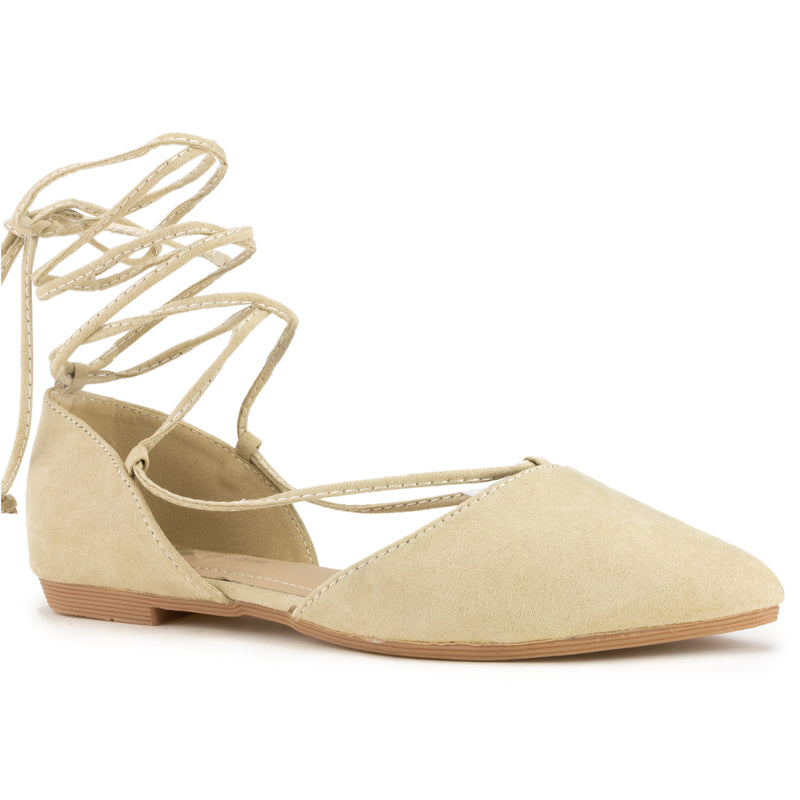 Vegan Pointed Toe D'Orsay Ballet Flats Ankle Strap Wrap Flat BEIGE SU