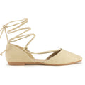 Bally-24 Pointed Toe Lace-up Flats in Beige Suede