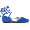 Bally-24 Pointed Toe Lace-up Flats in Blue Suede