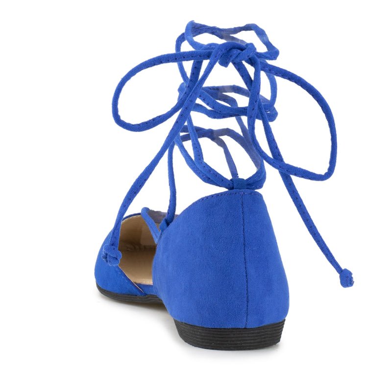 Vegan Pointed Toe D'Orsay Ballet Flats Ankle Strap Wrap Flat BLUE SU