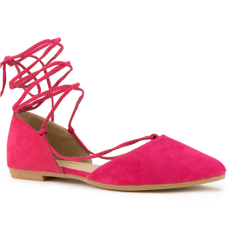 Vegan Pointed Toe D'Orsay Ballet Flats Ankle Strap Wrap Flat FUCHSIA SU