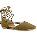 Bally-24 Pointed Toe Lace-up Flats Olive Suede