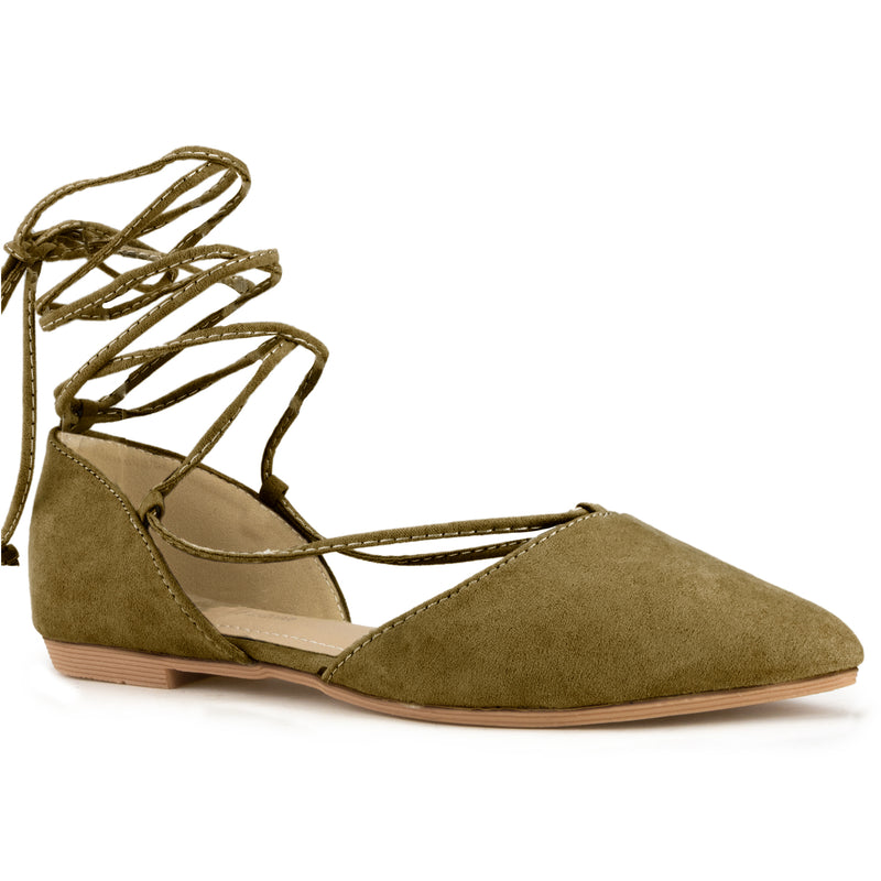 Bally-24 Pointed Toe Lace-up Flats in Olive Suede