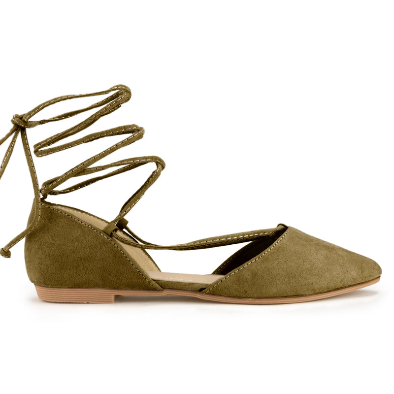 Vegan Pointed Toe D'Orsay Ballet Flats Ankle Strap Wrap Flat OLIVE SU