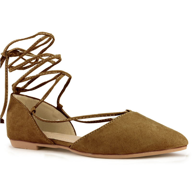 Vegan Pointed Toe D'Orsay Ballet Flats Ankle Strap Wrap Flat TAN SU