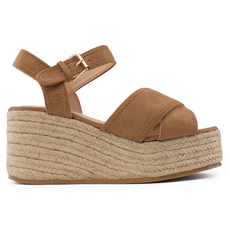 Open Square Toe Criss Cross Band Espadrille Platform Wedge Sandals CAMEL SUEDE