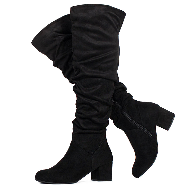 Women's Chunky Walking Heel Slouchy Knee High Boots BLACK SUEDE