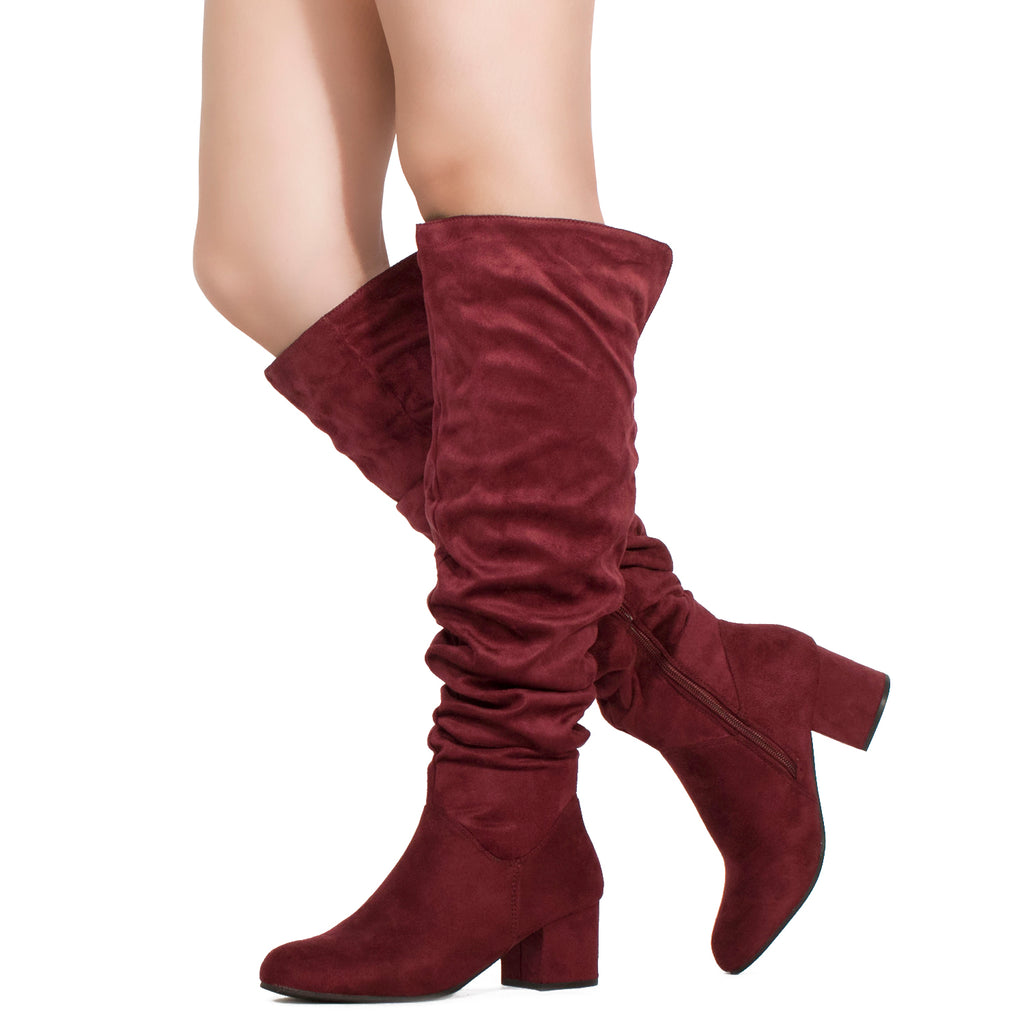 Women's Chunky Walking Heel Slouchy Knee High Boots BURGUNDY