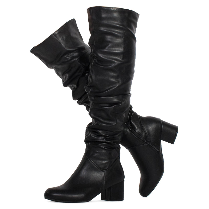 Women's Chunky Walking Heel Slouchy Knee High Boots BLACK PU