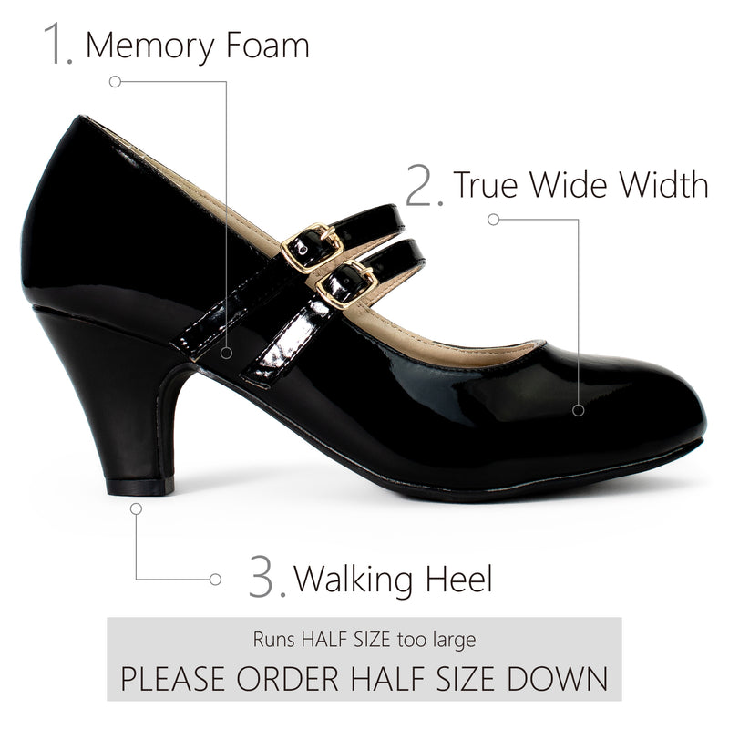 """Wide Width"" Mary Jane Chunky Heel Dress Pumps BLACK PATENT"