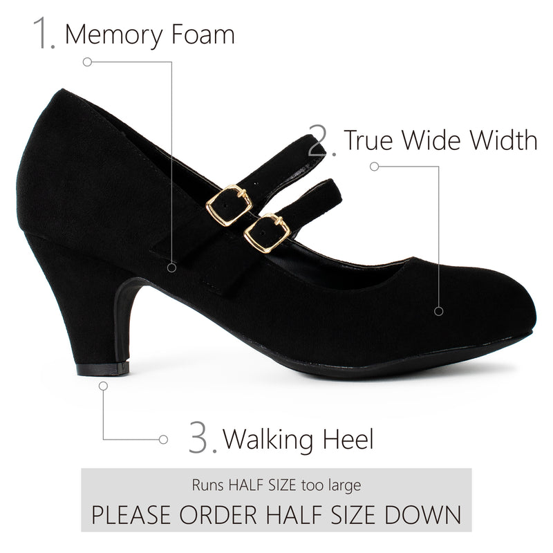 """Wide Width"" Mary Jane Chunky Heel Dress Pumps BLACK SU"