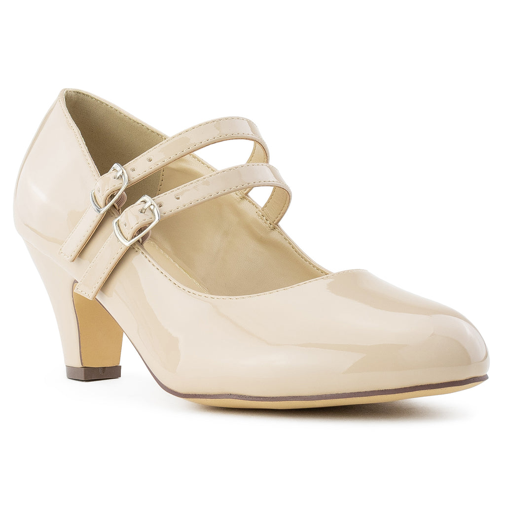 """Wide Width"" Wide Fit Mary Jane Chunky Heel Dress Pumps NUDE PATENT"