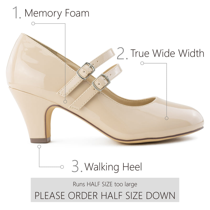 """Wide Width"" Mary Jane Chunky Heel Dress Pumps NUDE PATENT"