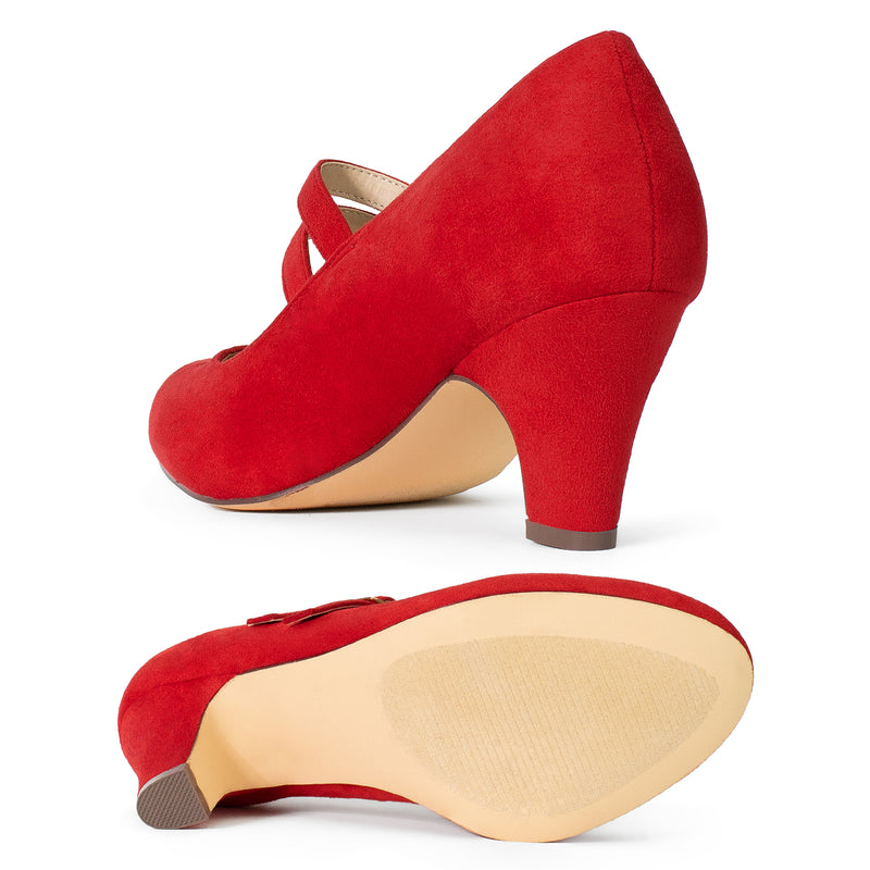 """Wide Width"" Wide Fit Mary Jane Chunky Heel Dress Pumps RED"