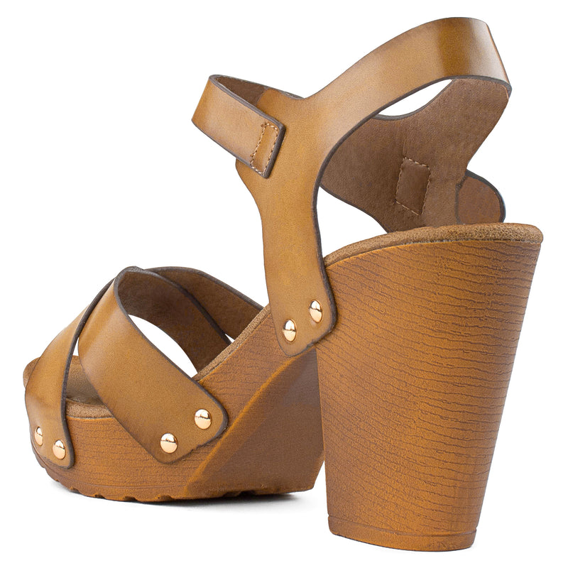Criss Cross Faux Wood Chunky Heel Sandals BEIGE
