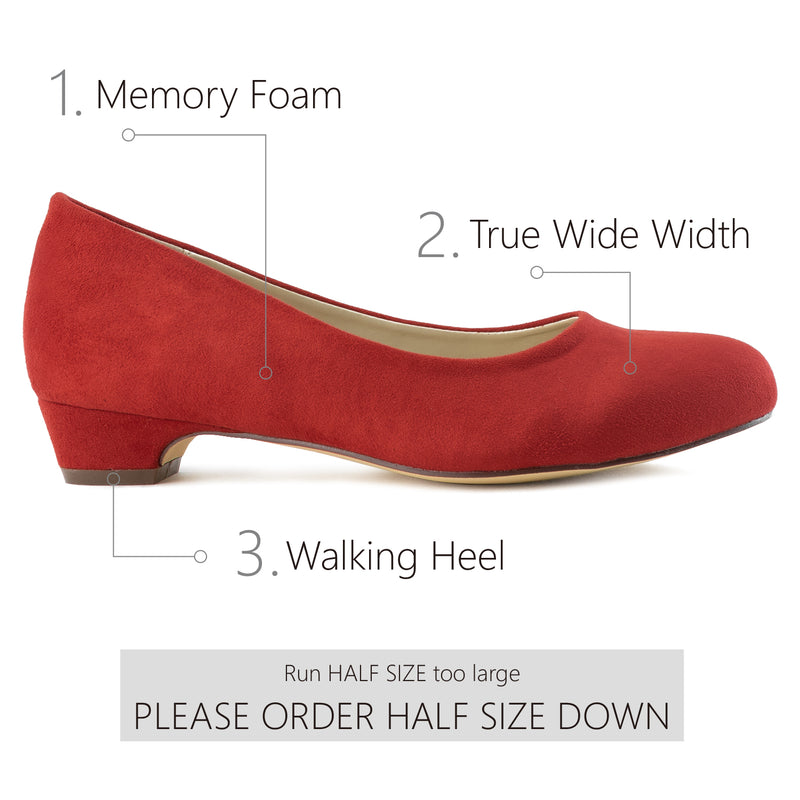 """Wide Width"" True Wide Width Low Walking Heel Dress Pumps RED"