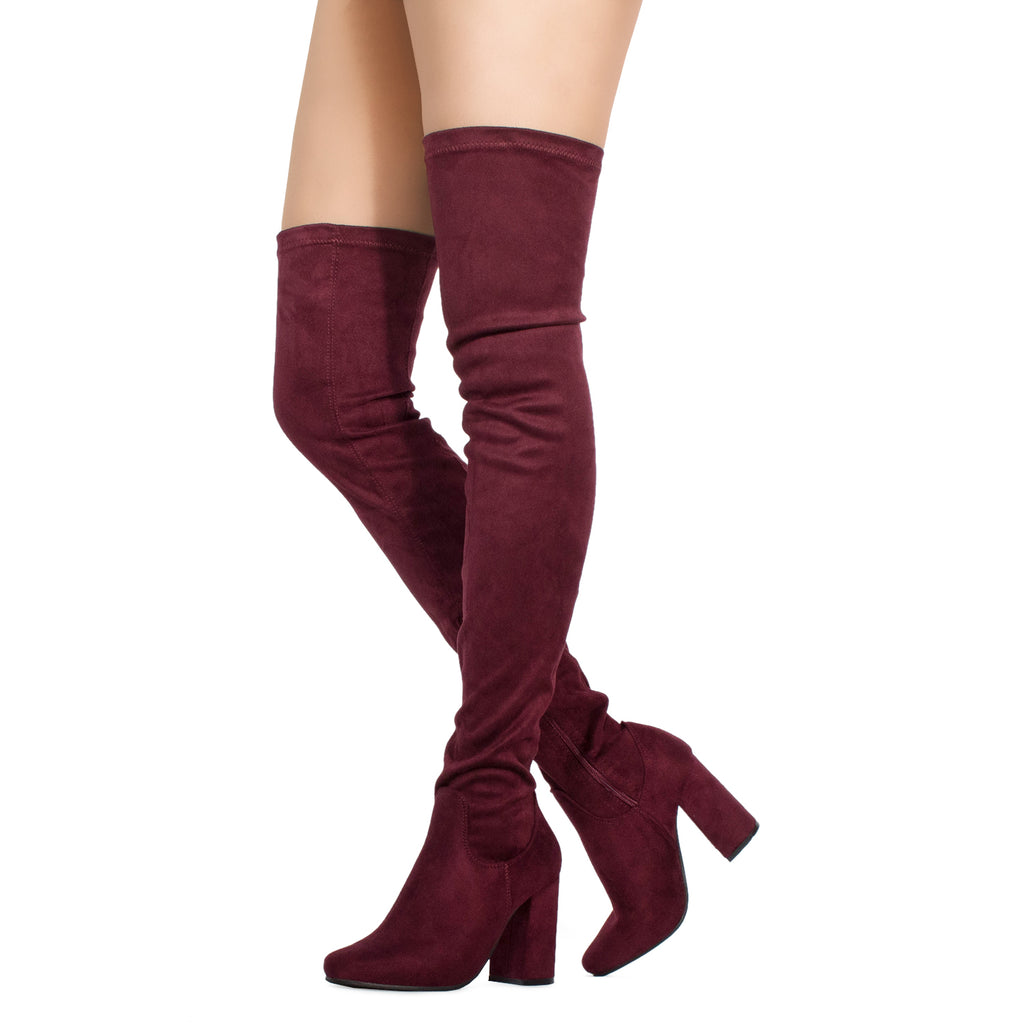 Women's Fitted Over The Knee Thigh High Chunky Heel Stretch BURGUNDY