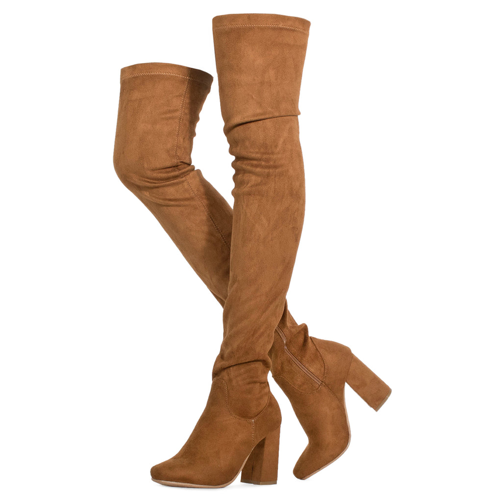 Women's Fitted Over The Knee Thigh High Chunky Heel Stretch Boots CAMEL