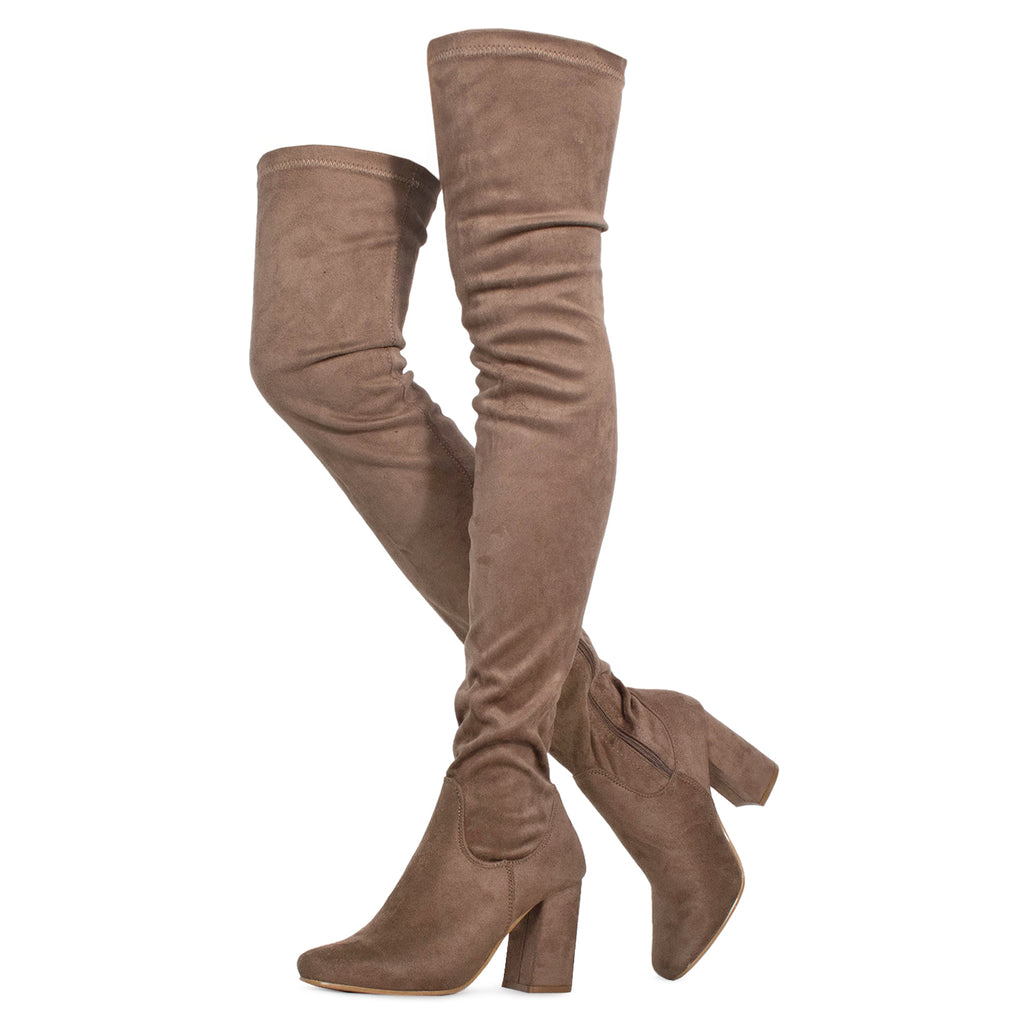 Women's Fitted Over The Knee Thigh High Chunky Heel Stretch Boots TAUPE