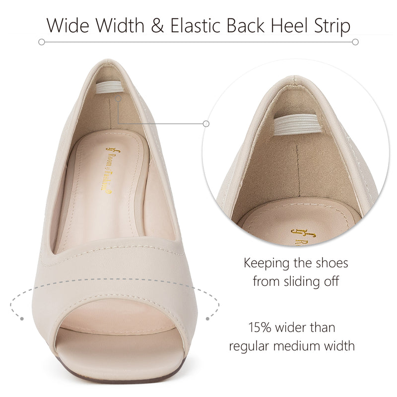"""Wide Width"" Open Toe Low Platform Heel Wedge Pumps BEIGE"