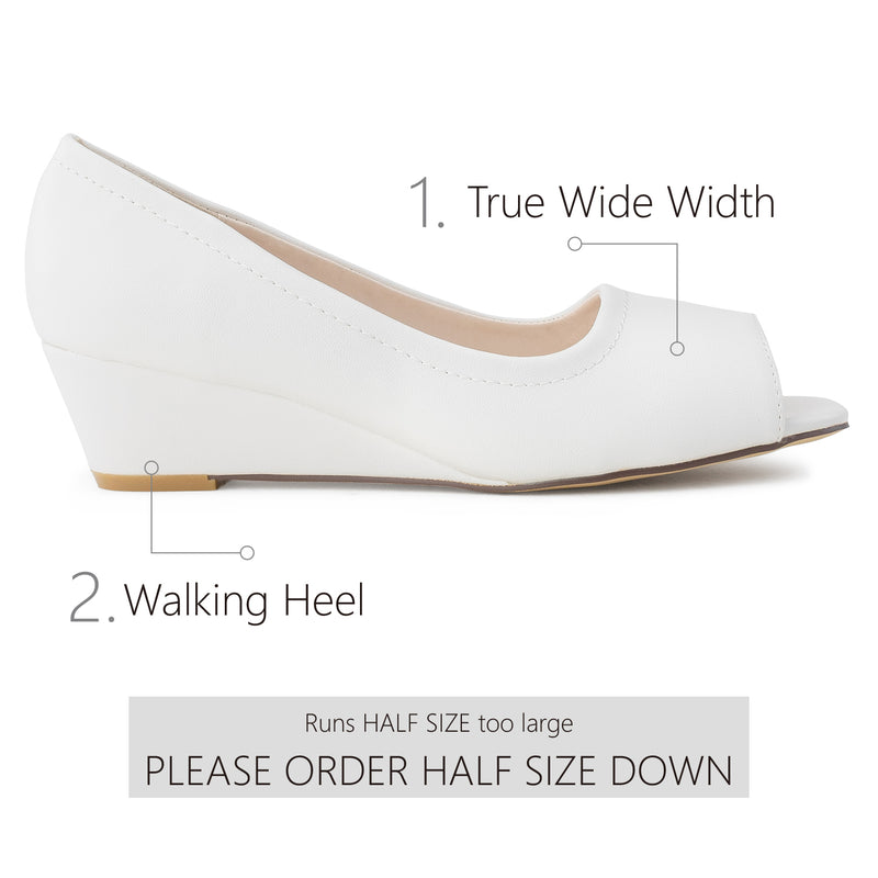 """Wide Width"" Open Toe Slip On Low Platform Heel Wedge Pumps WHITE"