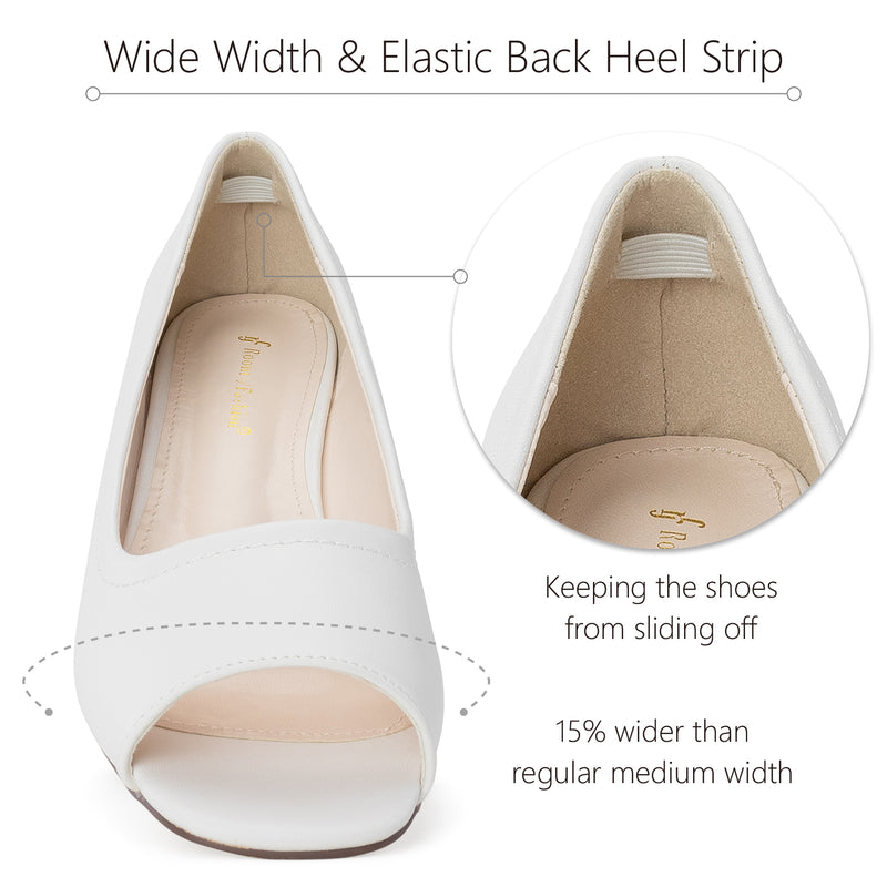 """Wide Width"" Open Toe Low Platform Heel Wedge Pumps WHITE"