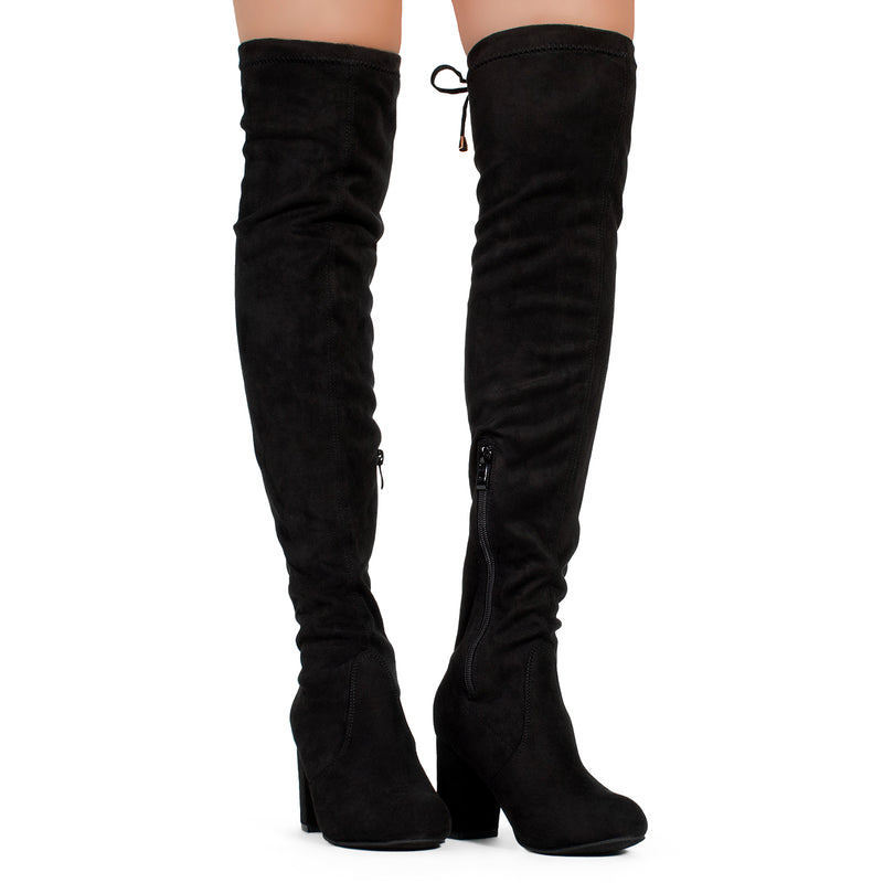 Medium Calf Over The Knee Chunky Heel Stretch Boots BLACK