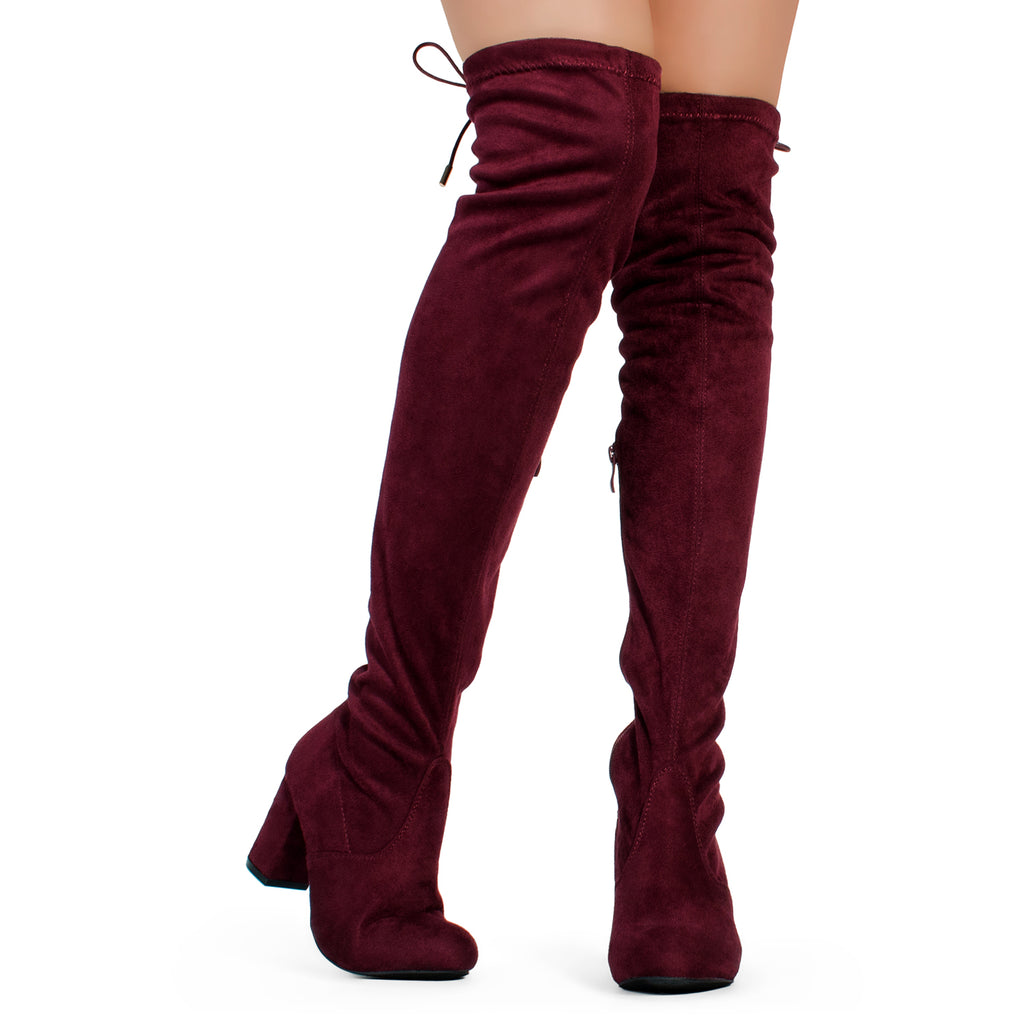 Medium Calf Over The Knee Chunky Heel Stretch Boots BURGUNDY